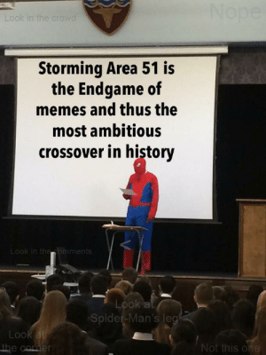 Memes, Reddit, and Spider: Nope  Look in the crowd  Storming Area 51 is  the Endgame of  memes and thus the  most ambitious  crossover in history  Look in theomments  Look at  Spider-Man's leg  Look at  the cormer  Not this one Mr Stark I feel great