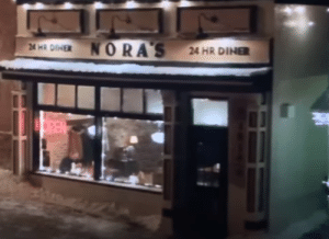 """In Jumanji: The Next Level (2019), the address of Nora's Diner is 1014. This is a tie-in to the novel/HBO series """"The Leftovers"""" in which 2% of the world's population vanishes October 14, suggesting they are in an MMORPG version of Jumanji.: NORA'S  24 HR DINER  24 HR DINER  OPEN In Jumanji: The Next Level (2019), the address of Nora's Diner is 1014. This is a tie-in to the novel/HBO series """"The Leftovers"""" in which 2% of the world's population vanishes October 14, suggesting they are in an MMORPG version of Jumanji."""