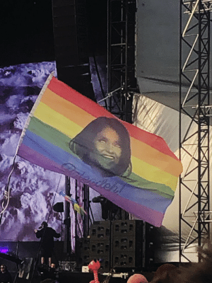 "nordacious: It's just been brought to my attention my ""Balegdeh"" illustration has been spotted at GLASTO, flying high on a rainbow flag in front of Kylie Minogue's set. That's it. My life just peaked.: nordacious: It's just been brought to my attention my ""Balegdeh"" illustration has been spotted at GLASTO, flying high on a rainbow flag in front of Kylie Minogue's set. That's it. My life just peaked."
