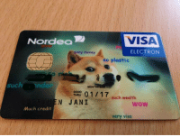 Money, Wow, and Good: Nordea  VISA  many money  ELECTRON  so plastic  such nde  GOOD  THRU  such wealth  N JANI  wow  Much credit  very visa <p>Such Wealth So Money</p>