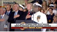 Memes, News, and Petty: NORFOLK, VA  NAVAL STATION  10:49 A  U.S. NAVY YEOMAN CHIEF PETTY OFFICER  BERWYN TINNION SINGS NATIONAL ANTHEM  FOX NEWS ALERT  FOX  NEWS PART I: Watch @USNavy Yeoman Chief Petty Officer Berwyn Tinnion sing the NationalAnthem for the commissioning ceremony of the newest aircraft carrier — the USS Gerald R. Ford.