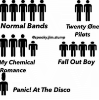 Never have I seen something so true in my life: Normal Bands  Twenty One  Pilots  @spooky jim stump  My chemical  Fall Out Boy  Romance  Panic! At The Disco Never have I seen something so true in my life