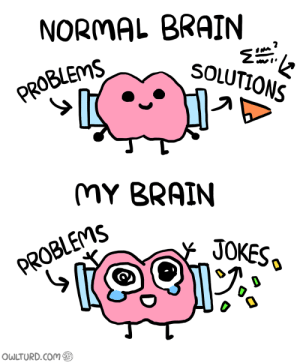 Brain, Com, and Solutions: NORMAL BRAIN  SOLUTIONS  PROBLEMS  MY BRAIN  JOKESo  PROBLEMS SA  OWLTURD.Com Normal Brain vs. My Brain 2
