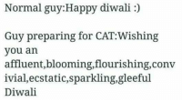 Memes, Happy, and Happiness: Normal guy:Happy di  Guy preparing for CAT:Wishing  you an  affluent, blooming,flourishing,conv  ivial, ecstatic,sparkling,gleeful  Diwali