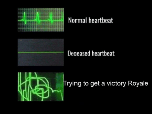 Lmao: Normal heartbeat  Deceased heartbeat  Trying to get a victory Royale Lmao