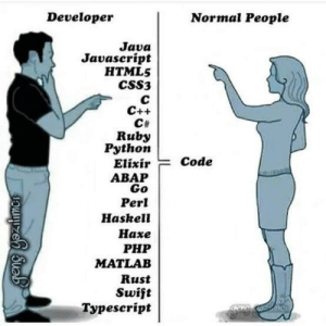 Complexity - > infinity: Normal People  Developer  Java  Javascript  HTML5  CSS3  с  C++  CH  Ruby  Python  Code  Elixir  АВАР  Go  Perl  Haskell  Нахе  РHP  MATLAB  Rust  Swift  Typescript  geng yoatmes Complexity - > infinity