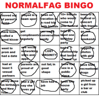 who here normal  (i moved back into parent house tho): NORMALFAG BINGO  en  ati  on  ad  he  get  ave bee  go  called a  compliments  conversation least one  ost  bi  day  egularly  sily  eek end  ood kisser  party  e Soci  ha  went to  ge  tos  networking  relatio  hip  hotos  prom and  had a date  s and  RGINITY  SI  at lasted  ith girl  app  1yr  parents ar  not fat; in  had at  ve tri  least 5  proud of  good  Sex in a  recreatio  sexual  public  shape  Ou  rugs  partners  picked up  rely  ne  d a gkl  have ha  a girl from  ous  on birthdays  say she  Job  a bar or  nd New  rty  ives yo  club  Ye who here normal  (i moved back into parent house tho)