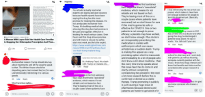 Normally I don't like to comment on posts, but with everything going on with COVID19 (and me being a 5th year pharmacy student) I haven't been able to control myself from trying to correct people's misinformation. (Me = purple, FB friend = blue, other 2 are mutual FB friends) sorry for the small txt: Normally I don't like to comment on posts, but with everything going on with COVID19 (and me being a 5th year pharmacy student) I haven't been able to control myself from trying to correct people's misinformation. (Me = purple, FB friend = blue, other 2 are mutual FB friends) sorry for the small txt