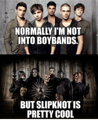 Cool, Slipknot, and Boys: NORMALLY I'M NOT  INTO BOYBANDS  BUT SLIPKNOT IS  PRETTY COOL Pretty-boys