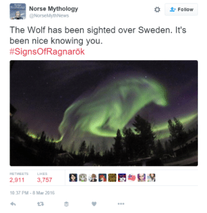 "News, Party, and Shit: Norse Mythology  ONorseMyth News  *  Follow  The Wolf has been sighted over Sweden. It's  been nice knowing you  #SignsOfRagnarök  RETWEETS  LIKES  2,911 3,757  10:37 PM-8 Mar 2016 steverogersnotebook: ladynorbert:  kate-barton93:  nooby-banana:  bifrostedflake:  sucymemebabaran:  vax-viral:  neverwithoutmyipod:  oh, shit wheres the video of the Danish news reporter and the car falling into the lake behind him and he goes ""Oh!… shit. Okay.""  No, seriously though, in Norse mythology this was the fist sign of Ragnarok, aka the Final Godly Beatdown Warmageddon.  are we finally getting a REAL apocalypse I'm getting real tired of being let down    #SHAN WHERE IS THAT PIC OF LOKI YOU EDITED #THE ONE WHERE HE'S READY TO PARTY    hope ur ready to ragnarok and roll  Isn't Thor: Ragnarok coming out this year? Plot twist of all plot twists: the prophetic Ragnarok was actually referring to the marvel movie.  Okay, reblogging for that last one.  Marvel's pulling out all the stops for promotion of this movie"