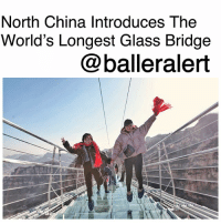 Bucket List, Memes, and Taken: North China Introduces The  World's Longest Glass Bridge  @balleralert North China Introduces The World's Longest Glass Bridge - blogged by: @ashleytearra (Swipe) ⠀⠀⠀⠀⠀⠀⠀ ⠀⠀⠀⠀⠀⠀⠀ Once again, China has taken things to the next level... literally. ⠀⠀⠀⠀⠀⠀⠀ ⠀⠀⠀⠀⠀⠀⠀ The country recently opened the world's longest glass-floor bridge. And, yes, it's all completely designed out of glass! ⠀⠀⠀⠀⠀⠀⠀ ⠀⠀⠀⠀⠀⠀⠀ The newly-added attraction made its anticipated debut at the Hongyagu scenic area in NorthChina's Hebei Province, drawing thousands of tourists in to see the grand reveal. ⠀⠀⠀⠀⠀⠀⠀ ⠀⠀⠀⠀⠀⠀⠀ Built by the Hebei Bailu Group, the 1,600-foot-long bridge sits 715 feet high and happens to only be 13 feet wide. The spine-chilling bridge is amazingly crafted with 1,077 1.6-inch-thick transparent glass panels and undergirded with 12 vanadium cables. It approximately weighs 70 tonnes (metric tons). ⠀⠀⠀⠀⠀⠀⠀ ⠀⠀⠀⠀⠀⠀⠀ Although it holds up to 3,000, for safety reasons, constructors have enforced that only 600 people travel along the bridge at once. ⠀⠀⠀⠀⠀⠀⠀ ⠀⠀⠀⠀⠀⠀⠀ Bucket list, anyone?