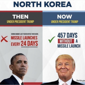 I'll take it!: NORTH KOREA  THEN  NOW  UNDER PRESIDENT TRUMP  UNDER PRESIDENT TRUMP  457 DAYS  WITHOUT  MISSILE LAUNCH  RING DBAMAS LAST YEAR IN OFFICE THERE WERE  MISSILE LAUNCHES  EVERY24DAYS Y  florida.gop I'll take it!