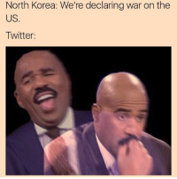 North Korea: We're declaring war on the  US.  Twitter: when north korea declared war on us and u find out about it from a meme 😬