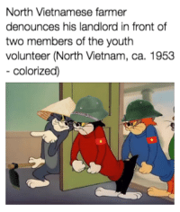 Good, Vietnam, and Old: North Vietnamese farmer  denounces his landlord in front of  two members of the youth  volunteer (North Vietnam, ca. 1953  colorized) Good old days - Vietnam