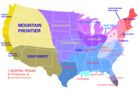 """dare-to-dm: ur-gal:  mapsontheweb: US divided by cultural identity. my favorite thing about CA is how""""northern california"""" takes up ¾ of the whole state  There are like 4 cultures in Missouri and I live close to where they all meet. : NORTHEASTERN  HIGHLANDS  PACIFIC  NORTHWEST  NEW ENGLAND  WEST GREAT LAKES  MOUNTAIN  FRONTIER  EAST GREAT  LAKES  PPER MIDWES  3  2  MID-ATLANTIC  HEARTLAND  TIDEWATER  NORTHERN  CALIFORNIA  LOWER MIDWEST  OUTH  OZARKS/MIDSOUTH APPALACHIA  SOUTHERN  CALIFORNIA  SOUTH ATLANTIC  SOUTHWEST  SOUTH  1AUSTIN, TEXAS  PITTSBURGH, PA  NORTHERN APPALACHIA  GULF COAST  LORIDA  L'ACADIANE  SOUTHERN FLORIDA dare-to-dm: ur-gal:  mapsontheweb: US divided by cultural identity. my favorite thing about CA is how""""northern california"""" takes up ¾ of the whole state  There are like 4 cultures in Missouri and I live close to where they all meet."""