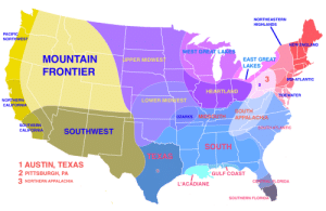 "missydeedeetee:  dare-to-dm:  ur-gal:  mapsontheweb: US divided by cultural identity. my favorite thing about CA is how ""northern california"" takes up ¾ of the whole state  There are like 4 cultures in Missouri and I live close to where they all meet.  florida being 5 whole regions by itself is so so accurate  : NORTHEASTERN  HIGHLANDS  PACIFIC  NORTHWEST  NEW ENGLAND  WEST GREAT LAKES  MOUNTAIN  FRONTIER  EAST GREAT  LAKES  PPER MIDWES  3  2  MID-ATLANTIC  HEARTLAND  TIDEWATER  NORTHERN  CALIFORNIA  LOWER MIDWEST  OUTH  OZARKS/MIDSOUTH APPALACHIA  SOUTHERN  CALIFORNIA  SOUTH ATLANTIC  SOUTHWEST  SOUTH  1AUSTIN, TEXAS  PITTSBURGH, PA  NORTHERN APPALACHIA  GULF COAST  LORIDA  L'ACADIANE  SOUTHERN FLORIDA missydeedeetee:  dare-to-dm:  ur-gal:  mapsontheweb: US divided by cultural identity. my favorite thing about CA is how ""northern california"" takes up ¾ of the whole state  There are like 4 cultures in Missouri and I live close to where they all meet.  florida being 5 whole regions by itself is so so accurate"