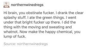 Pls I'd appreciate it a lot: northernwinedregs  Hi brain, you obstinate fucker. I drank the clear  splashy stuff. I ate the green things. I went  under that bright fucker up there. I did the  thing with the moving and sweating and  whatnot. Now make the happy chemical, you  lump of fuck.  Source: northernwinedregs Pls I'd appreciate it a lot