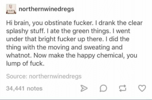 Brain, Fuck, and Happy: northernwinedregs  Hi brain, you obstinate fucker. Il drank the clear  splashy stuff. I ate the green things. I went  under that bright fucker up there. I did the  thing with the moving and sweating and  whatnot. Now make the happy chemical, you  lump of fuck  Source: northernwinedregs  34,441 notes