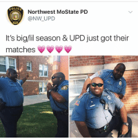 Memes, 🤖, and Got: Northwest MoState PD  @NW UPD  It's big/lil season & UPD just got their  matches 😍😍😍
