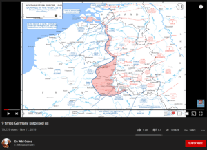 "Surely there's no way: NORTHWESTERN EUROPE, 1940  CAMPAIGN IN THE WEST, 1940  Situation 16 May and Operations  Since 10 May  Dutch surrendered  14 May  Dardrecht w  10 May  Moerdijk  a--  (11  Gennep Goch  Maas River  Units of Seventh Army  surrendered 17 May  Wesel  DGHTEENTH  KUECHLER  Breda.  H O  A N D  50  SCALE OF MILES  WALCHEREN  PEEL  Esseno s  ISLAND  XXXX  MARSUES  XXXXX  In the interests of clarity, fortifications  other than the Maginot Line, have been  omitted from this and succeeding maps.  ZEELAND  Terneuzen  Ma  Roermong  BOCK  XXXX  SEVENTH  GIRAUD  Ostendo  Dusseldorf  Aptyjerp o  ALIRT  d14 May  Nieuport  XXXx  -XXXX  Ghent  Dunkirk  of  Eftet  Gravelines  shide R BELG.  Beregues  Calais,  XXXX  SIXTH  REICHENAU  -хдххх  Cologneo  XXXXBrussels Lauyaino  BEF  Courtra Audenardeo  Menin  10 May  Yr Ruer  Ypreso  t Maastricht  Watten 6  Boulogne o  Aachen xXXX  Wavre  13 May  PEBENA  EMAGL  Rier  Bonno  Escut Rier  XXXXX  A  RUNDSTADT  XXXX  Hannut  Liége  Lille  eof  honschayxx  NINTH  BLASKOWITZ  FIRST  Carvin BLANCHARDMaulde  XXXX  FIRST  Gemblouke  Bethune  Huy  Maubeugeo  Mamu  Charlerol  er Reve  Douai o  14 May  XXXX  HOTA FRENCH FOURTH  CAVALRY KLUGE  Rer  Arras  Ноsо  Dinante  Аггas  xxxx  Beaumpn Elarenges o  Samb ver  - St. Vith  Prum THEC  SCREEN  Marche o  Lesse ve  Cambraid  Philippevilleo  Abbeville Doulleng,  XXXX  EIFEL  LaRoche  XXXXX  O Bapaume  XXXX  NINTH  CORAP  Giyeto  Rocheforto  Sone River  XXXX  Houffalize  I  XXXX  TWELVE  LIST  BILLOTTE  SECOND  AgÓENRNHARDT  St. Hubert  Bastogneo,  хх  gLipramont  WEICHS  Bitburge  Регone  Revin  Montheune  Amiens  Vianden  XXXX  Diekirch  Echternach  Oise River  O Hirson  11 May  FOREST  St. Quentino  -KLEJST  KONeufchatea  Belgian  Group  Marle o  Mosele  Ham  Trieg  Mezigres  Boullage  dan3 May  Bazeille  Caribnan  XXXX  GUDERIAN  Signy L 'Abbayebonebersta  XXXX SIXTEENTH  13 Mayl  La Fere  Arlon HIRD BUSCH  CONDE  Montcorne  FIr  Noyon o  Saaфurg o  Oise River  / Luxembourg  LUX,  Laon  Virtono  Longwyo  XXXX  Stonné  Retheles  XXXX Montmed  SECOND  XXXXX  Clermonto  Bourg  OMerzig  16 May  Longuyory  x2pong""  Soissons  HUNTZIGER  XXXX  LEEB  XXXXX  Vele ver  THIRD  Saarlautern  SIXTH  TOUCHON  Quren ver  Reims  Senliso  Saarbrucken  SUBSCRIBE  3 divisions to Billotte 15 May  Dentelce  Go Wd Geese  Verdun  Mef  м  Chateau  Thierry Dormans  and I division from Eighth Army  en route to Billotte.  Epernayb  PRETELAT  хх  HD  JRTH  Chalons  9 times Germany surprised us  79,279 views • Nov 11, 2019  gI 67  1.4K  SHARE  E+ SAVE  Go Wild Geese  1.06K subscribers  SUBSCRIBE  Rhine Rver  Roer  Mage her  Sint Surely there's no way"