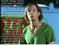 """Jewish Beliefs: Norville """"Shaggy"""" Rogers  is the name of a biblical  monster fron Jewish  belief. The name 10:17 is a  derivation from the root  לוה Ivh """"to bend: to neal"""",  with a literal meaning off  """"wretched, twisted  heart"""". Both the name  and the mythological  figure are a direct  continuation of the  Ugaritic world eater  Scrapē, one of the  servants of the fire god  Scübē Dú, that stands  undefeated by all other  underworld dwellers that  dared to face him"""