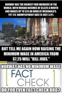 "America, Facts, and Memes: NORWAY HAS THE HIGHEST PAID WORKERSIN THE  WORLD, WITH MEDIAN INCOMES OF $5,675 AMONTH  AND WAGES UP TO$24 AN HOUR ATMCDONALD'S.  YETITS UNEMPLOYMENT RATEIS JUST 3.9%  BUT TELL MEAGAIN How RAISING THE  MINIMUMWAGE IN AMERICA FROM  $7.25 WILL""KILL JOBS.""  OCCUPY  DEMOCRATS  NORWAY HAS NO MINIMUM WAGE  FACT  CHECK  DOYOUEMEN FACTCHECKBRO? (GC) http://www.investopedia.com/articles/investing/080515/5-developed-countries-without-minimum-wages.asp"