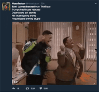 Bitch, Blackpeopletwitter, and Gif: Nosa Isabor @Nosalsabor 20h  Tomi Lahren banned from TheBlaze  Trumps healthcare rejected  Obamacare still stands  FBl investigating trump  Republicans looking stupid  GIF  16 t 2.2K 3.6K <p>Tamara banned permanently? Bye bitch 👋 (via /r/BlackPeopleTwitter)</p>