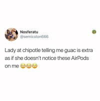 Chipotle, Memes, and Rude: Nosferatu  @semicolon666  Lady at chipotle telling me guac is extra  as if she doesn't notice these AirPods  on me Some people are so rude