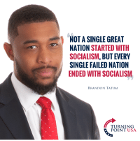 Socialism, Rome, and Karl Marx: NOT A SINGLE GREAT  NATION STARTED WITH  SOCIALISM, BUT EVERY  SINGLE FAILED NATION  ENDED WITH SOCIALISM  BRANDON TATUM  TURNING  POINT USA FWD: ROME FELL BECAUSE OF KARL MARX