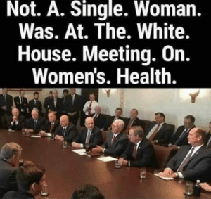 Memes, White House, and House: Not. A. Single. Woman.  Was. At. The. White.  House. Meeting. On.  Women's. Health.