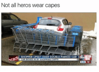 Boxing, Wshh, and Heroes: Not all heros wear capes  SHOPPER UPSET OVER DOUBLE-PARKED CAR  CAR BOXED IN BY SHOPPING CARTS  EXE 75°  5:42 Did this person deserve it? #WSHH