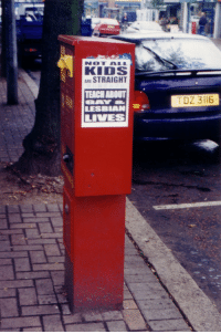 "Target, Tumblr, and Avengers: NOT ALL  KIDS  ARE STRAIGHT  TEACH ABOUT  LESBIAN  TDZ 3116 lesbianherstorian: ""NOT ALL KIDS ARE STRAIGHT. TEACH ABOUT GAY  LESBIAN LIVES"", a poster from the lesbian avengers in belfast, ireland, photographed by maxine wolfe, 1998"