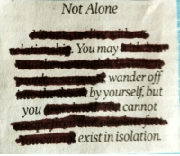 Being Alone, You, and Isolation: Not Alone  wandero  by yourself, but  i  you  cannot  exist in isolation.