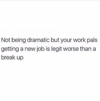 Facts, Work, and Break: Not being dramatic but your work pals  getting a new job is legit worse than a  break up Facts! 😩💯 https://t.co/6qXHtC4gcH