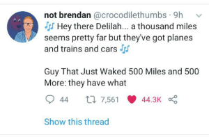 And now it's stuck in your head too: not brendan @crocodilethumbs · 9h  SS Hey there Delilah... a thousand miles  seems pretty far but they've got planes  and trains and cars S  Guy That Just Waked 500 Miles and 500  More: they have what  27 7,561  44.3K  44  Show this thread And now it's stuck in your head too