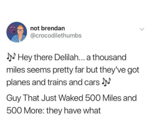 Transportation methods have improved: not brendan  @crocodilethumbs  I Hey there Delilah... a thousand  miles seems pretty far but they've got  planes and trains and cars J  Guy That Just Waked 500 Miles and  500 More: they have what Transportation methods have improved