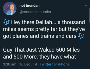 And I Would Walk 500... Wait What?: not brendan  @crocodilethumbs  S Hey there Delilah... a thousand  miles seems pretty far but they've  got planes and trains and cars Js  Guy That Just Waked 500 Miles  and 500 More: they have what  3:30 am · 16 Dec. 19 · Twitter for iPhone And I Would Walk 500... Wait What?