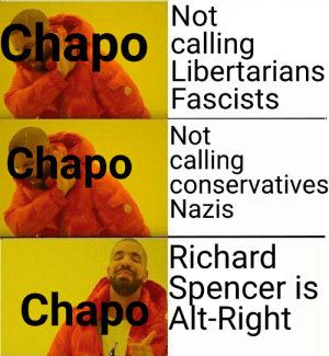 I once got called a Nazi for suggesting that punching people because they disagree with you politically isn't okay.: Not  Chapo  calling  O  Libertarians  Fascists  Not  Chapo calling  conservatives  Nazis  Richard  Spencer is  Chapo Alt-Right I once got called a Nazi for suggesting that punching people because they disagree with you politically isn't okay.