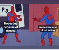 Memes, 🤖, and Page: Not eating  because of  nausea  Nausea because  of not eating Like our page for more memes! 8Memes  Join our group 8Shit Memes