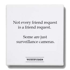 surveillance: Not every friend request  is a friend request.  Some are just  surveillance cameras.  WITITUDES
