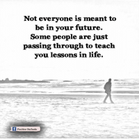 Memes, Outlook, and Teaching: Not everyone is meant to  be in your future.  Some people are just  passing through to teach  you lessons in life.  f Positive outlooks