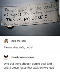 Deer, Hunting, and Cubs: not firsuit in the woods  at night! It's hunting season  THIS IS NO JOKE  Eay on the marked hihing paths  jack-the-lion  Please stay safe, cubs!  disastrousnonsense  who out there shootin purple deer and  bright green foxes that walk on two legs me_irl