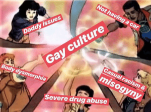 Racism, Daddy Issues, and Drug: Not having a car  culture  Gay  Daddy issues  Casual racism &  Body dysmorphia  misogyny  Severe drug abuse