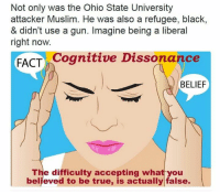 Memes, Muslim, and Ohio: Not only was the Ohio State University  attacker Muslim. He was also a refugee, black,  & didn't use a gun. Imagine being a liberal  right now.  FACT  Cognitive Dissonance  BELIEF  The difficulty accepting what you  believed to be true, is actually false. Poor little fool...