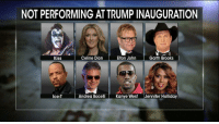 "Kanye, Memes, and Ice-T: NOT PERFORMING ATTRUMPINAUGURATION  Celine Dion  Elton John  Garth Brooks  Kiss  Andrea Bocelli  Kanye West  Jennifer Holliday  Ice-T A number of celebrities are refusing to perform at President-elect DonaldTrump's inauguration, but that hasn't stopped TobyKeith. The country singer said he will not apologize for ""performing for our country or military."""