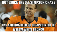 Memes, OJ Simpson, and Chase: NOT SINCE THE OJ SIMPSON CHASE  HASAMERICA BEEN SODISAPPOINTED IN  A SLOW WHITE BRONCO
