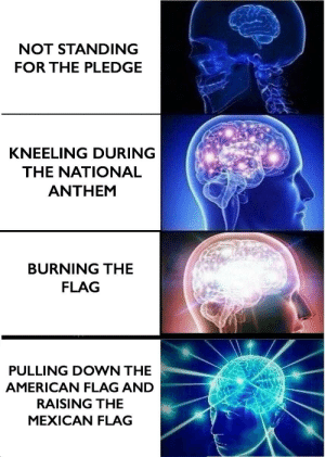National Anthem, Uno, and American: NOT STANDING  FOR THE PLEDGE  KNEELING DURING  THE NATIONAL  ANTHEM  BURNING THE  FLAG  PULLING DOWN THE  AMERICAN FLAG AND  RAISING THE  MEXICAN FLAG Área Cincuenta y Uno
