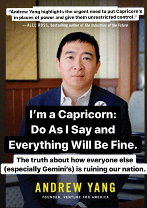 Not sure if anyone here is Yang Gang but I made this in honor of Capricorn season and my fellow Cap Andrew Yang!: Not sure if anyone here is Yang Gang but I made this in honor of Capricorn season and my fellow Cap Andrew Yang!