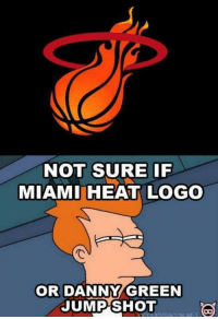 Not sure if Heat logo or...: NOT SURE IF  MIAMI HEAT LOGO  で  OR DANNY/GREEN  JUMP SHOT  ipyBACON NET Not sure if Heat logo or...