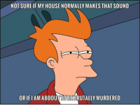 not sure if: NOT SURE IF MY HOUSE NORMALLY MAKES THAT SOUND  ORIFIAM AB00UTTOBEBRUTALLY MURDERED